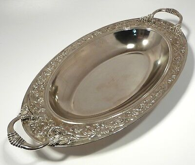 SILVER PLATED FOOTED SERVING BOWL LARGE OVAL ENTREE DISH CASSEROLE w HANDLES
