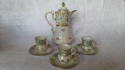 Antique porcelain Chocolate Pot Set - Nippon - Hand-Painted Roses Forget-Me-Nots