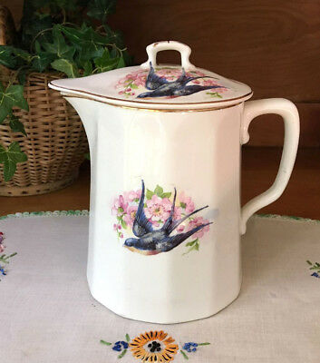 """Bluebird China Lovely Large Pitcher with Lid Antique 8"""" Bluebirds & Dogwood"""