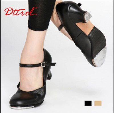 Leather Buckle High Heel Tap Shoes Black Quality  Modern Dance Supplies