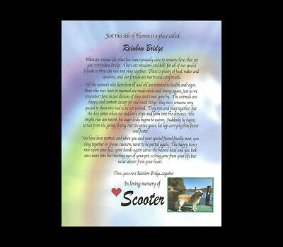RAINBOW BRIDGE pet LOSS MEMORIAL POEM ONLY dog cat personalized 8x10 ADD PHOTO