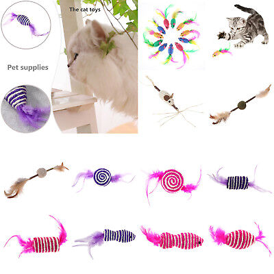 Mini False Mouse Ball Pet Cat Bite Toys Funny Playing Toys Colorful Feather
