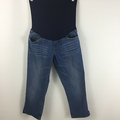 Liz Lange Maternity for Target Pull On Denim Capri Jeans Sz 4 Full Belly Panel