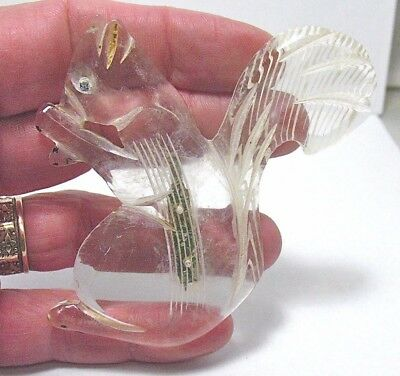Huge Vintage Clear Lucite Squirrel Pin Brooch 2 1/2 X 3 1/4 Inches