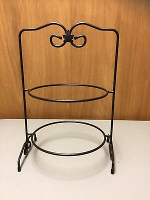 NEW n BOX Longaberger WROUGHT IRON 2-PIE RACK-Stand-Server for PLATES-CASSEROLES