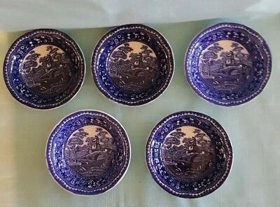 Antique Old Tower Staffordshire 5 berry bowls Blue Transfer  Ceramic 19th Cent.