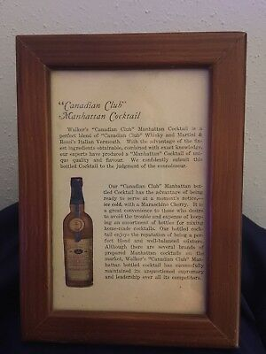 Framed Walker's Canadian Club Manhattan Cocktail Ad From 1932