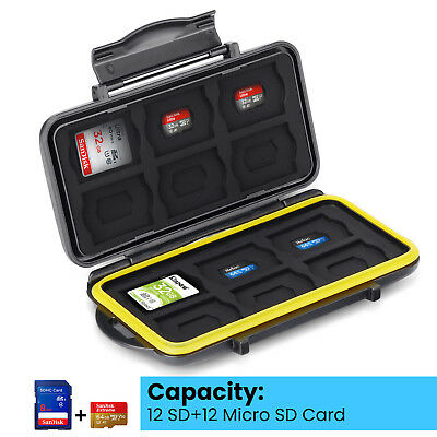 Waterproof Holder Hard Storage Memory Card Case Fits 12 SD+12 Micro SD TF Cards