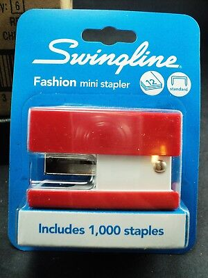 Swingline® Mini Fashion Stapler, 12 Sheets, Red, Square Shape Stands on End