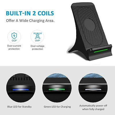 Fast Qi Wireless Charger Cooling Fan Charging Dock Station 10W For Apple USA