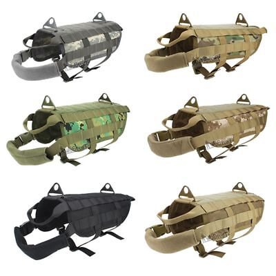 Tactical K9 Police Dog Training Military Vest Nylon Service Canine Molle Harness