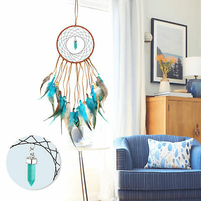 Dream Catcher Wall Hanging Decoration Ornament Handmade Feather Large Blue Craft