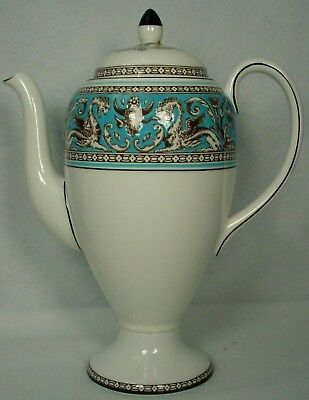 "WEDGWOOD china FLORENTINE TURQUOISE W2714 pattern Coffee Pot & Lid -8-3/8"" 5 cup"