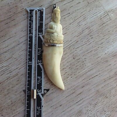 OLD Carved Tooth Talisman Sterling Pendant