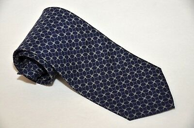 HUGO BOSS 100% Silk Tie Dark Blue Geometric Luxury Black Label ITALY