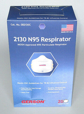 BOX OF 20 Gerson 2130 NIOSH Approved N95 Respirator Masks, Made in USA, 082130C