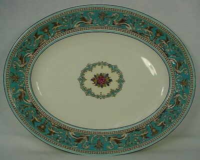 WEDGWOOD china FLORENTINE TURQUOISE W2714 pattern Oval Serving Platter 14-1/8""