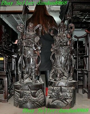rare china old wood master Hand-carved Door god Keeper Patron saint statue pair