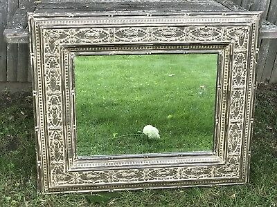 Vintage Style Beveled Wall Hanging Wood Frame Mirror Large Heavy Hammered Metal