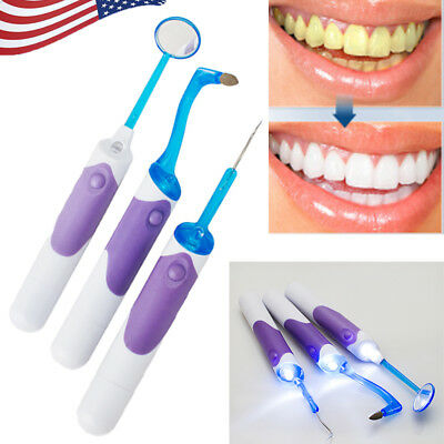 Dental Cleaning Tool Kits LED Light Mirror Plaque Remove Tooth Stain Eraser 2019