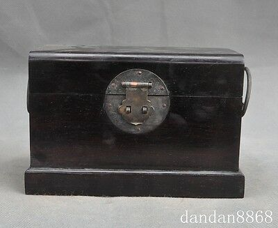 collect old china chinese Rosewood wood carved statue storage box Jewelry boxes