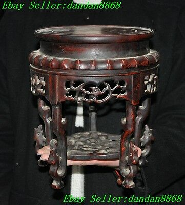 Chinese Huanghuali wood Carving Phoenix bird Bonsai Potted Pedestal Bases statue