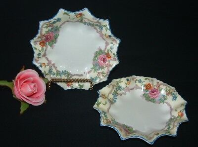 Set Of 2 Vintage Bone China Butter/jam/trinket Dishes - Hand Painted
