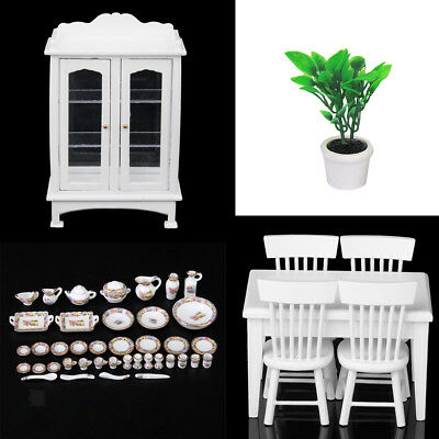 1:12 Dollhouse Miniature Kitchen Furniture Table Chairs w/Tableware Set Accs