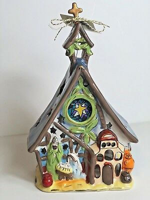 Blue Sky Clayworks Christmas NATIVITY Church Tea Light Candle Holder Goldminc