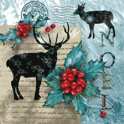 3 Paper Napkins for Decoupage / Parties / Christmas - NOEL
