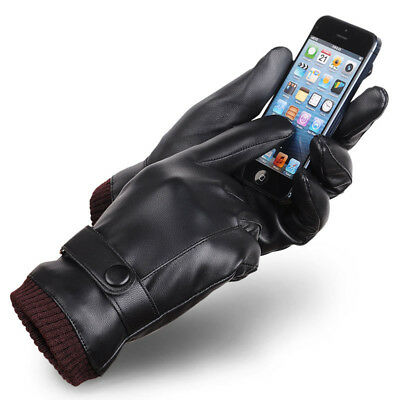 Mens PU Leather Touch Screen Gloves Winter Warm Thermal Driving Gloves BF Gift