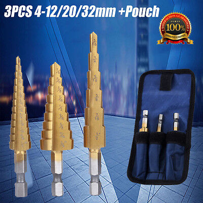 3Pcs Large Hss Step Cone Drill Titanium Bit Set Hole Cutter Storage With Pouch