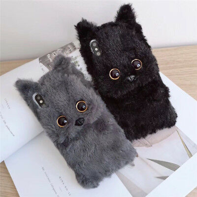 Cute Winter Cartoon Cat Fuzzy Plush Soft Case Cover for IPhone X XS Max 7 8 Plus