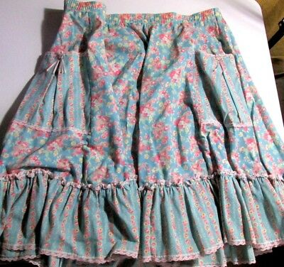 "Vintage Partners ""Please"" Square Dance *Blue/Pink Floral Pattern* Skirt (XL)"