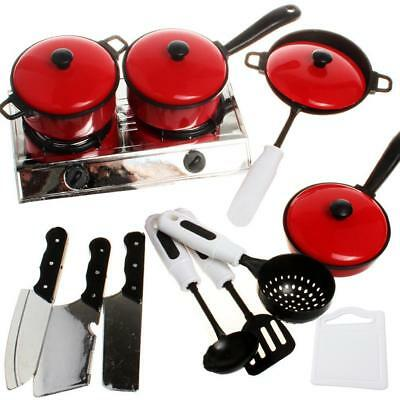 13PCS/Kit Kids House Toy Kitchen Utensils Cooking Pots Pans Food Dishes Cookware