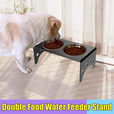 Cat Dog Pet 2 Bowl Acrylic Adjustable Raised Stand Food Water Feeder Durable UK