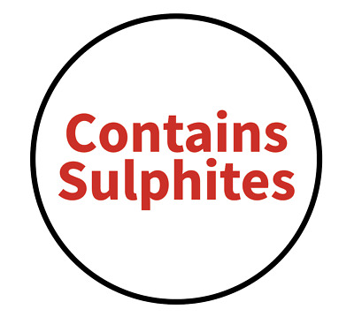 """""""Contains Sulphites"""" Food Allergy Labels - Red - 19mm (117 per sheet)"""