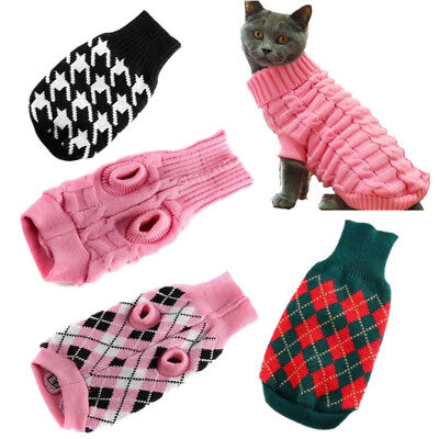 Cat Puppy Sweater Small Dog Warm Knit Coat Pet Winter Outwear Clothes XS-XXL