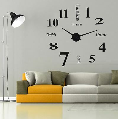 DIY Ultra Large Digital Wall Clock Mute 3D Mirror Surface Sticker Home TV Wall I
