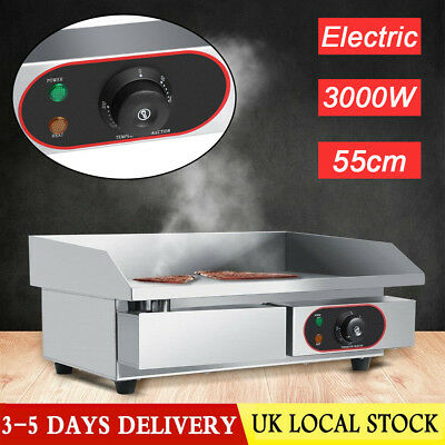 220~240V 3000W Electric Griddle Countertop Hot Plate Commercial BBQ Grill UK New