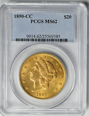 1890-Cc Liberty Head $20 Pcgs Ms 62