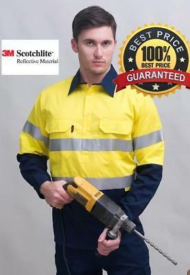 Hi Vis 2 Tone Close Front Cotton drill shirt with 3M tape, Normal or L/weight