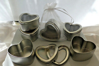 24 x Heart Shape Silver Tins Seamless Wedding, Bath Salts, Body products Candles