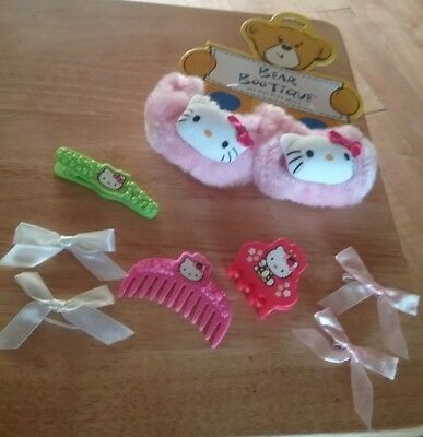 Build A Bear Pink Hello Kitty Fuzzy Slippers Shoes Bows, Clips & Comb New