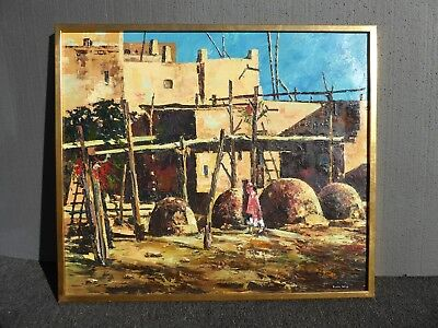 Vintage Indian Pueblo Oil Canvas Painting Signed Eileen Kelly Taos Pueblo Art