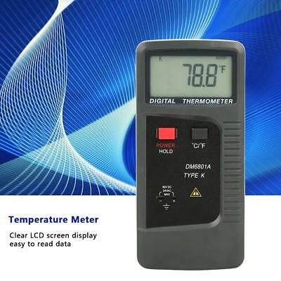 DM6801A Digital LCD K Type Thermometer Meter Dual Channel with Probe Sensor