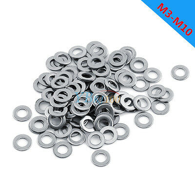 100pcs M3/M4/M5/M6/M8/M10 Stainless Steel Flat Washers for Bolts Screws Tool Kit