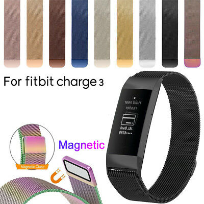 Stainless Steel Magnetic Milanese Band Strap Wristband For Fitbit Charge 3 NICE