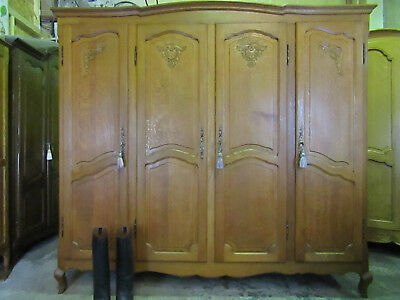 Vintage 4 door French carved oak Louis style armoire,wardrobe,Flat packs