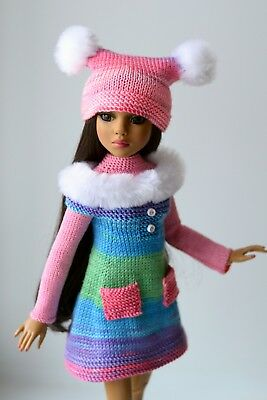 "Handmade knit outfit for Tonner Doll  Ellowyne Wilde Body 16"" dress"